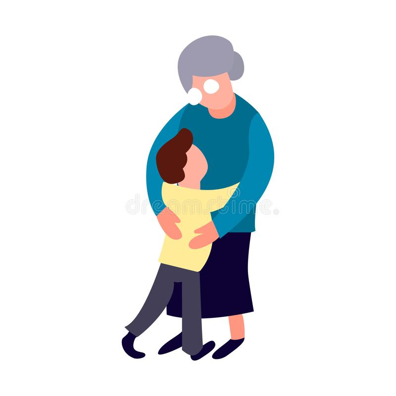 Grandmother and grandson hug. Cartoon flat old women and little boy form. Happy family concept. Senior person lifestyle stock illustration