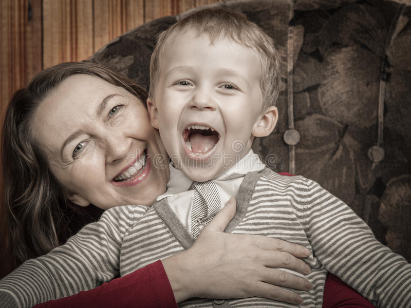 Download Grandmother and grandson stock image. Image of dressed - 36990671