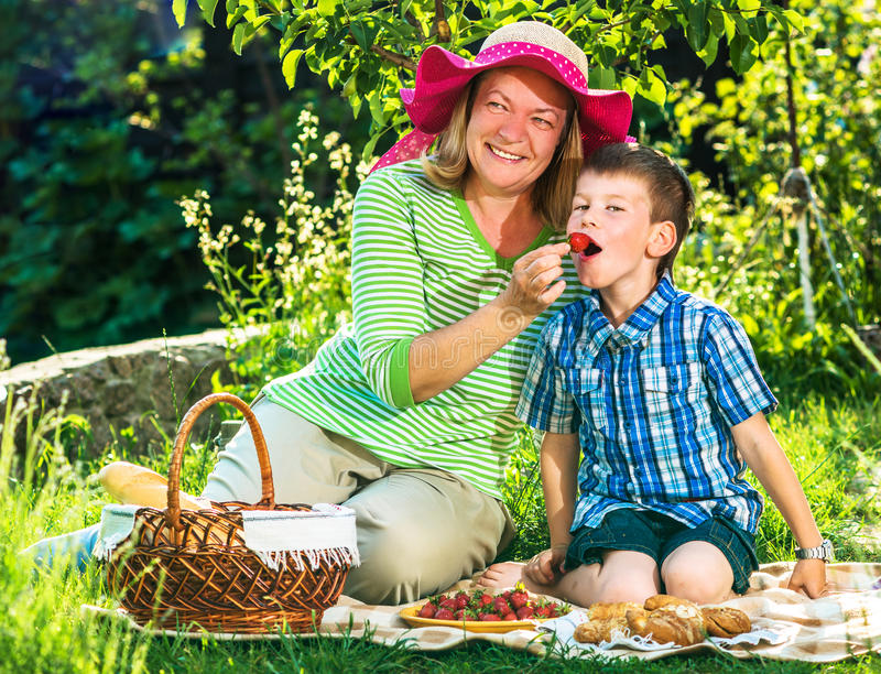 Grandmother having a picnic with grandchild royalty free stock images