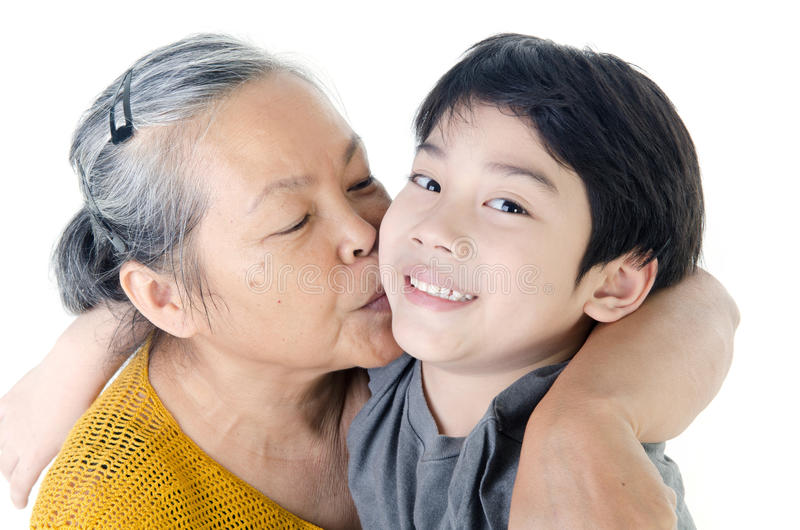 Grandmother with her grandchild. Portrait of Grandmother with her grandchild isolated on white background stock image
