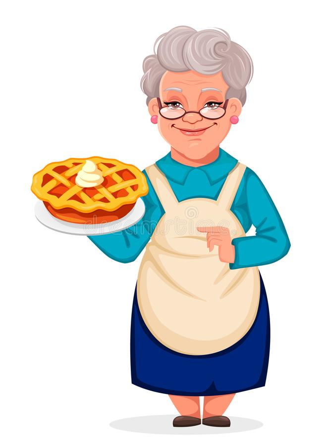 Grandmother holding a delicious pumpkin cake. Happy Grandparents Day. Cheerful grandmother cartoon character holding a delicious pumpkin cake. Vector vector illustration