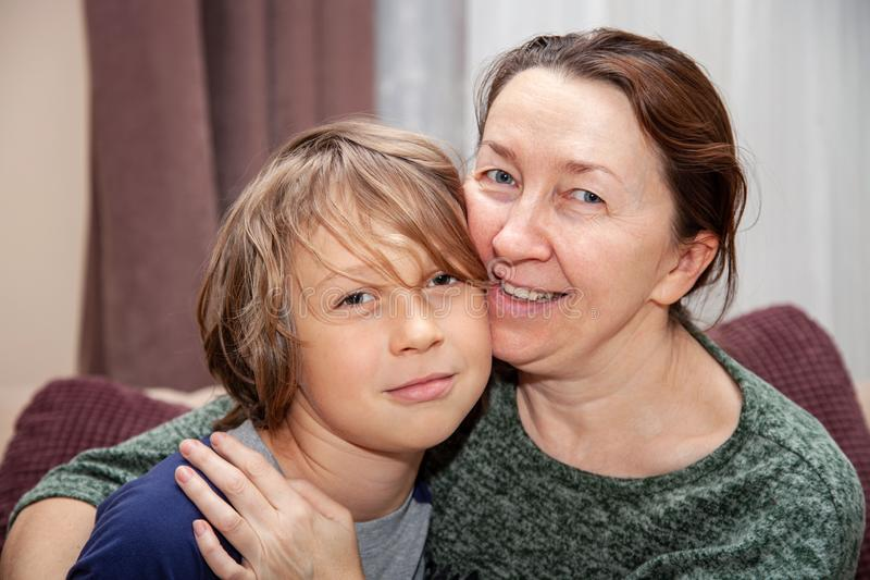 Portrait of grandmother with her grandson royalty free stock image
