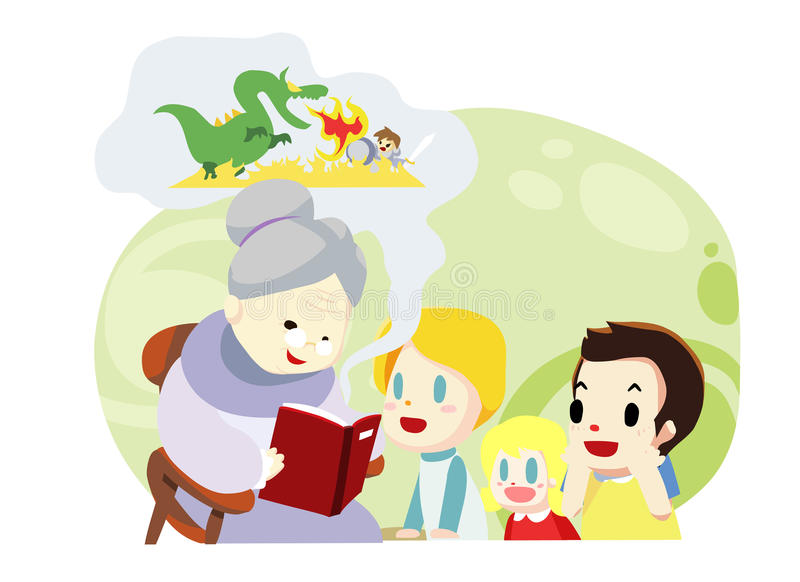 grandmother and kids family time - vector