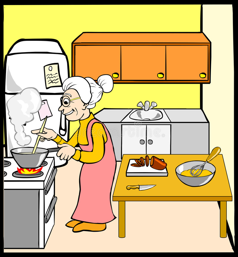 Grandmother In Kitchen Stock Vector. Illustration Of