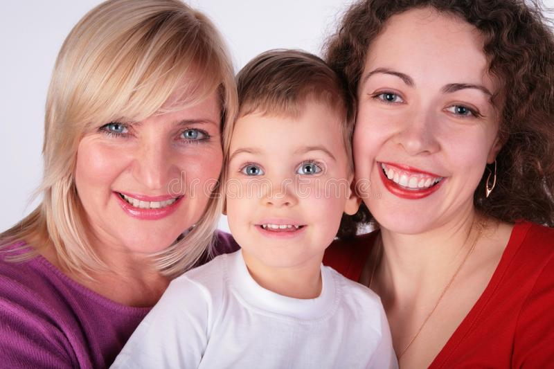 Grandmother, mother, baby stock photography