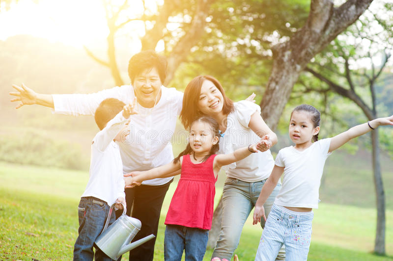 Grandmother, mother and children at outdoors. royalty free stock photo