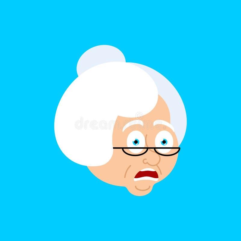 Grandmother OMG scared face avatar. Face grandma Oh my God emoji vector illustration