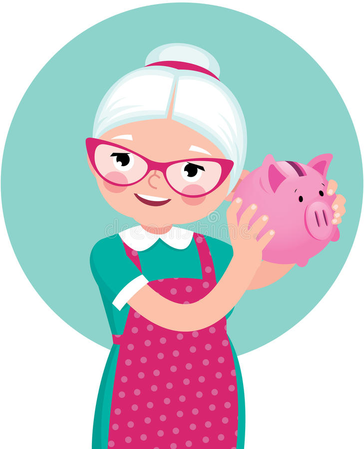 Grandmother a pensioner in an apron shakes a piggy bank stock illustration