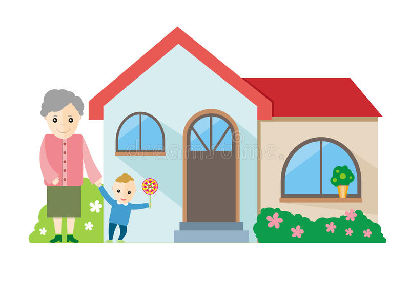 Grandmother playing with her grandchildren royalty free illustration
