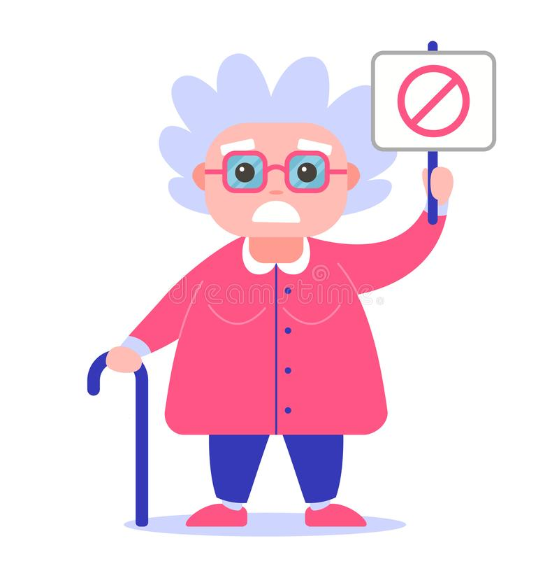Grandmother with a poster against. royalty free illustration
