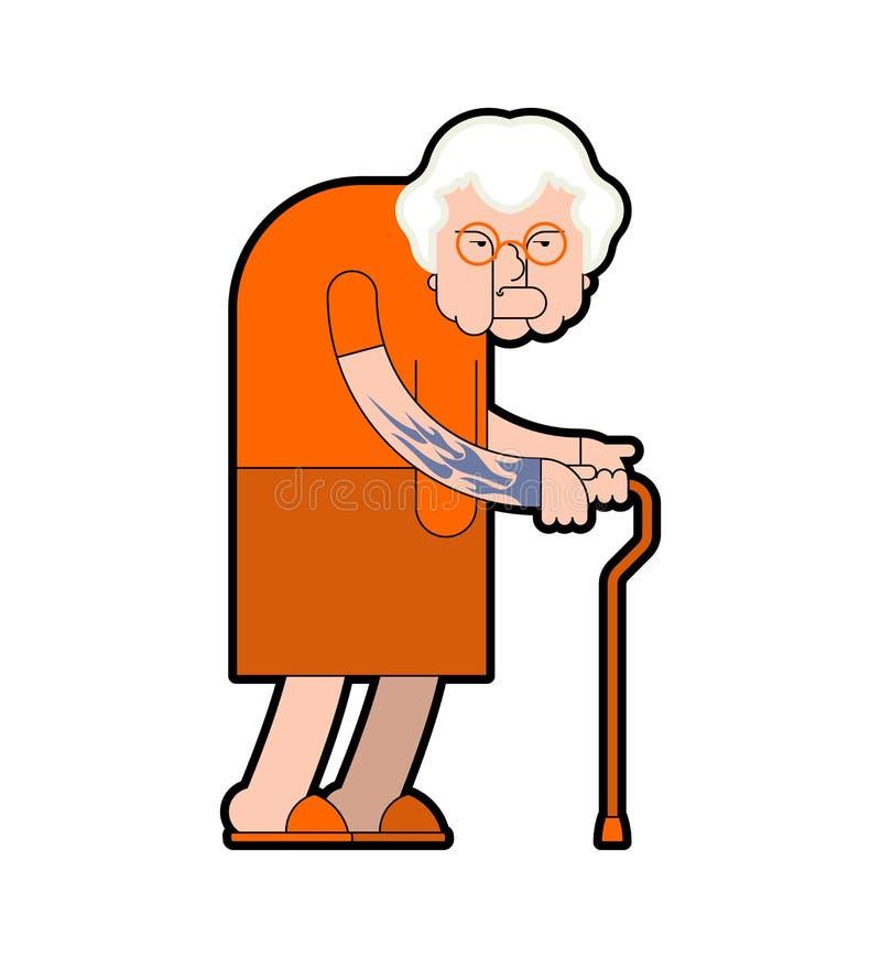 Grandmother prisoner crime. Grandma Gangster in orange robes. Old lady with tattoo. Vector illustration vector illustration