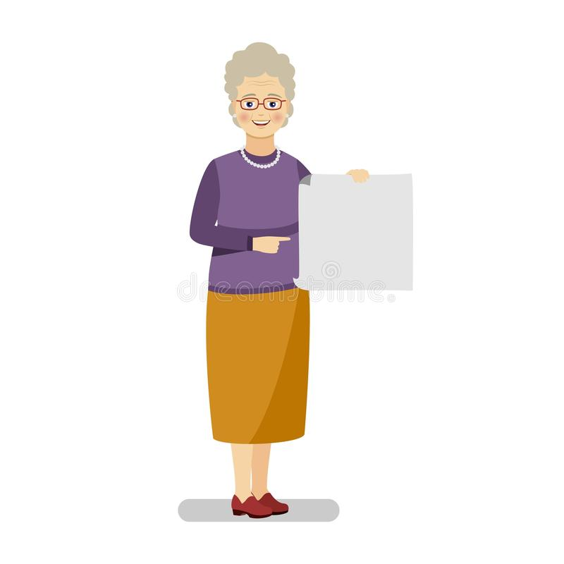 A grandmother in a purple sweater and yellow skirt holds in her hand a blank sheet of template for text. Flat vector illustration royalty free illustration