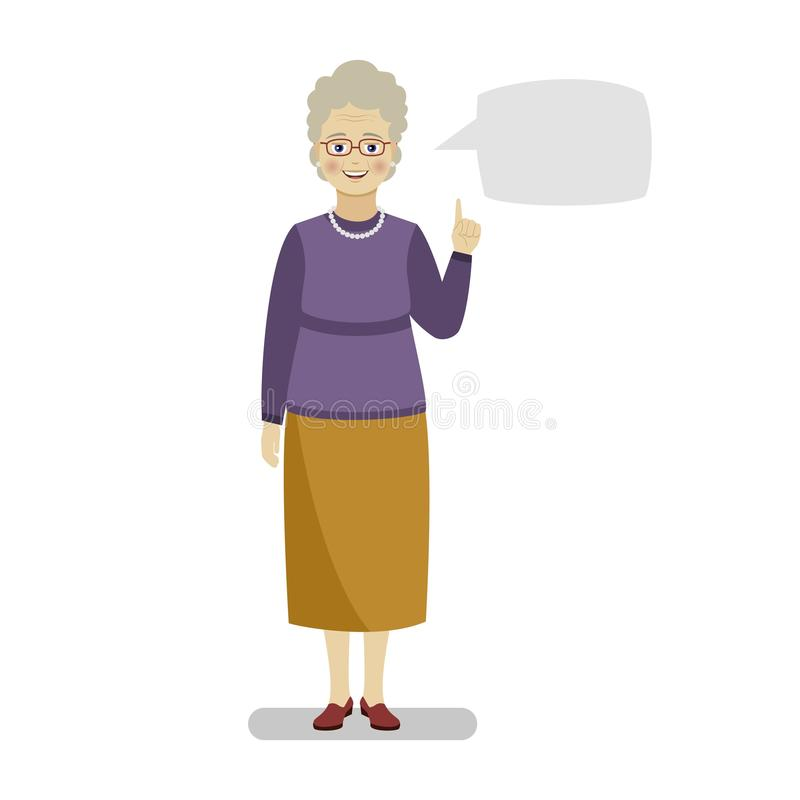 Grandmother in a purple sweater and yellow skirt points to a blank sheet of template for text. Flat vector illustration vector illustration