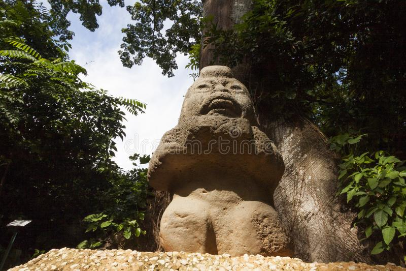 Grandmother rock carving sculpture Olmec,La Venta Park. Villahermosa,Tabasco,Mexico.  royalty free stock images