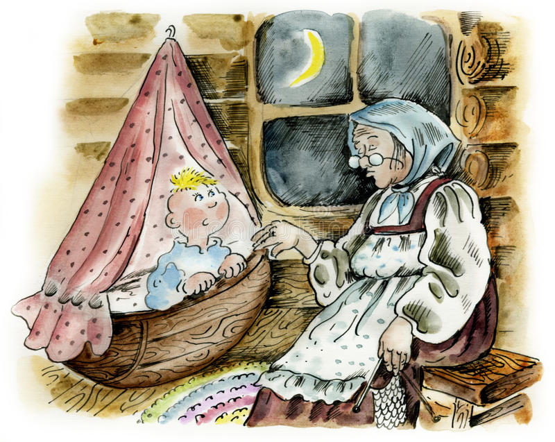 Grandmother rocking to sleep grandson vector illustration