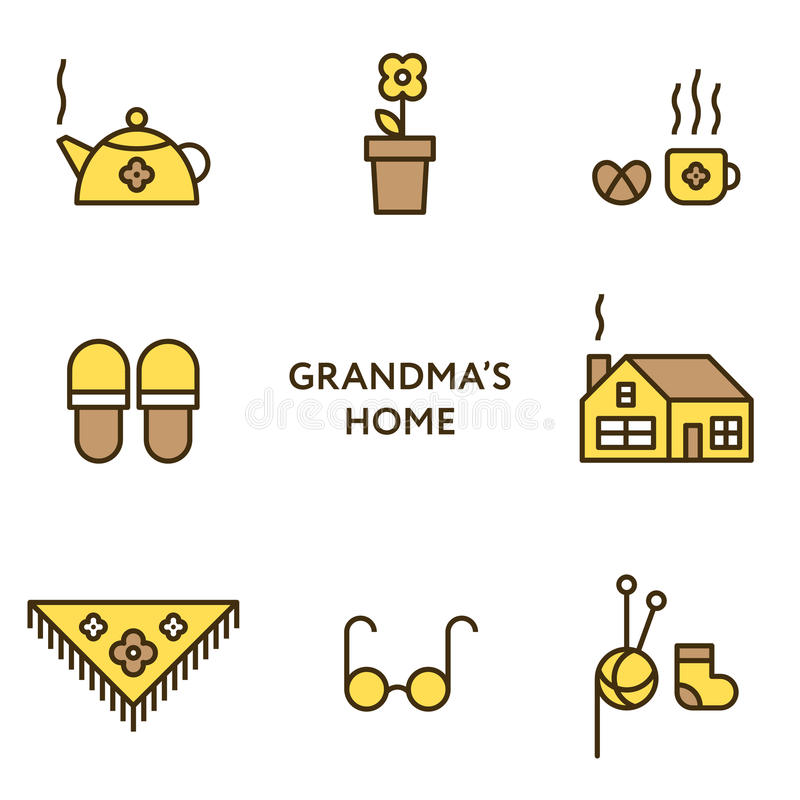 Grandmother's home. Set of flat line icons. Modern design.  vector illustration