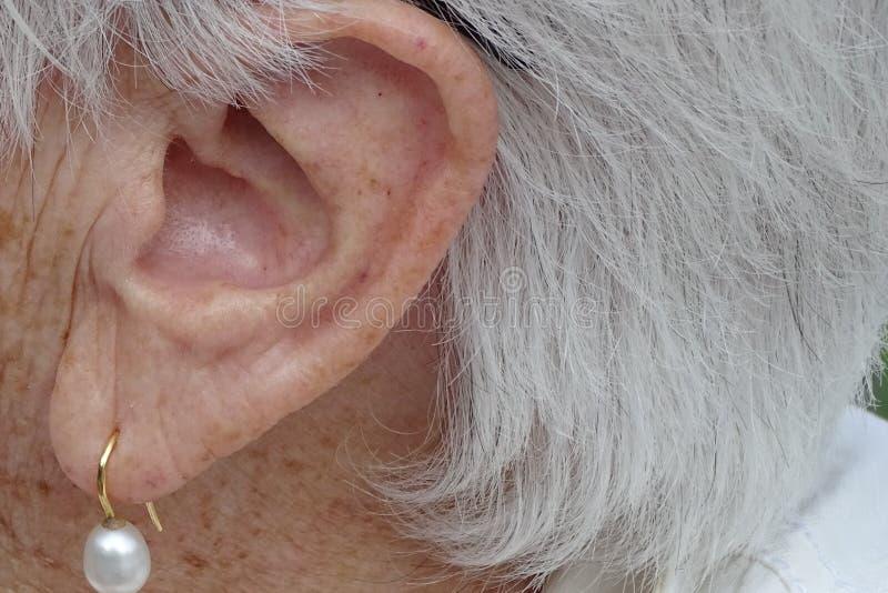 Grandmother& x27; s-Ohr mit Ohrring im Detail stockbilder