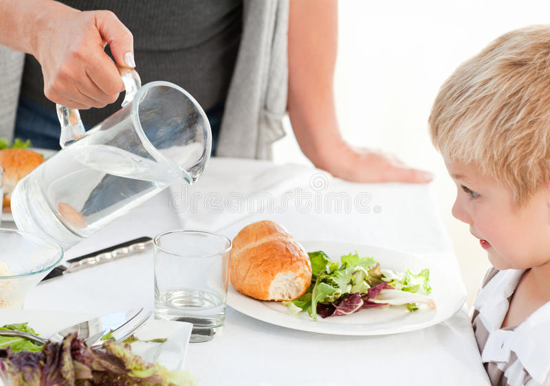 Download Grandmother Serving Her Grandson Stock Photo - Image of healthy, happy: 18108262