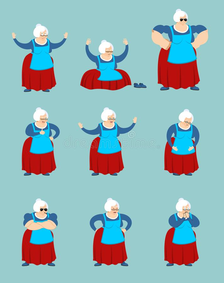 Grandmother set poses and motion. Grandma happy and yoga. Old la. Dy sleeping and angry. guilty and sad. Vector illustration stock illustration