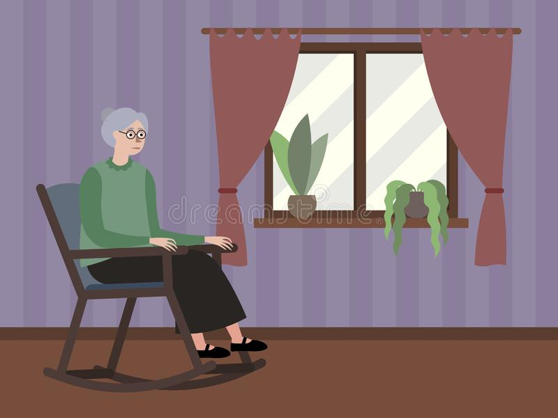 Grandmother sits by the window in a rocking chair. In minimalist style Cartoon flat Vector stock illustration