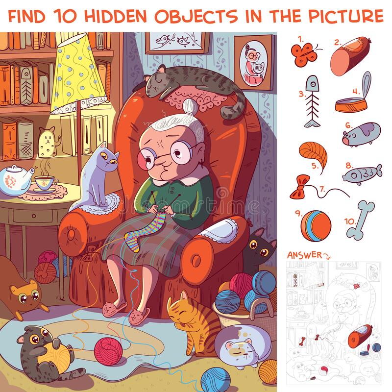 Free Grandmother Sitting On The Armchair And Knits Socks Surrounded By Her Cats. Find Hidden Objects Royalty Free Stock Photos - 188906428