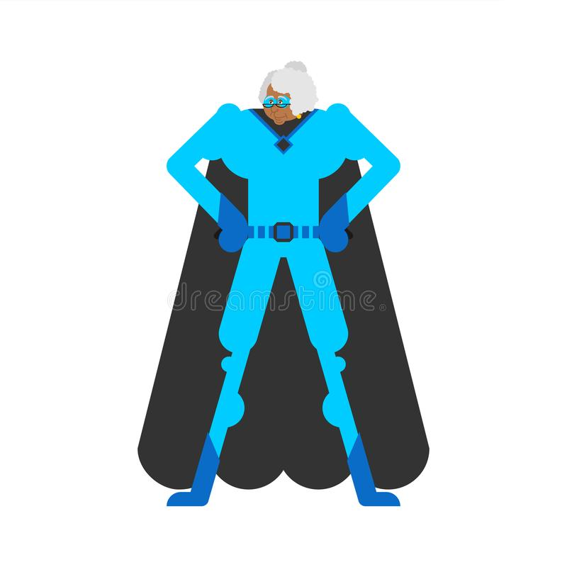 Grandmother superhero. Super grandma in mask and raincoat. Strong old lady vector illustration