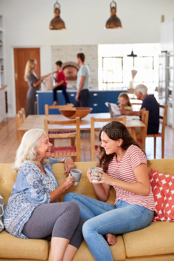 Grandmother With Teenage Granddaughter Relaxing On Sofa And Talking At Home royalty free stock photos