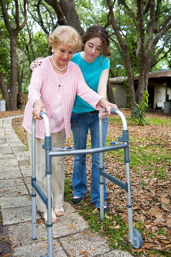 Grandmother with Walker stock images