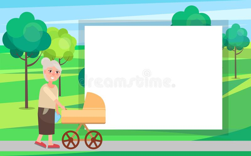 Grandmother Walking with Newborn Toddler in Pram. In urban city park vector illustration with place for text in frame. Two generations grandma and infant vector illustration