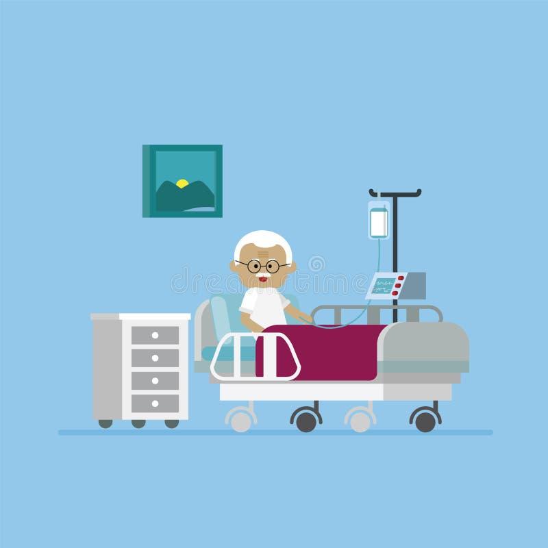 Grandpa отдыхая на больничной койке иллюстрация вектора