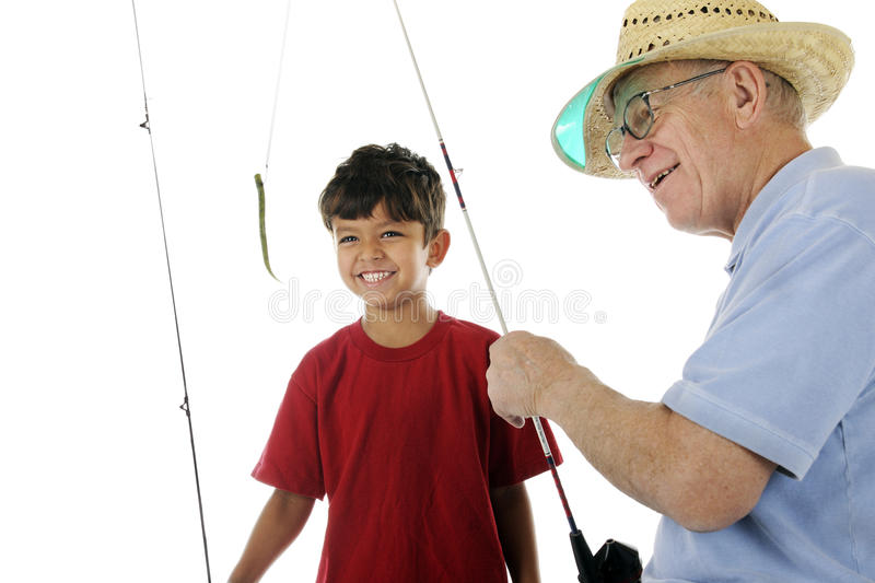 Grandpa Baits the Hook royalty free stock photography