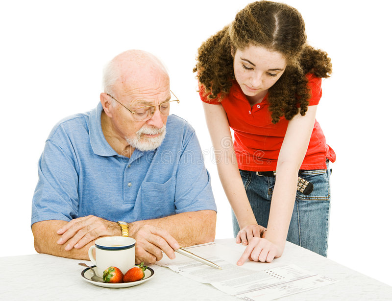 Grandpa de ajuda imagens de stock royalty free