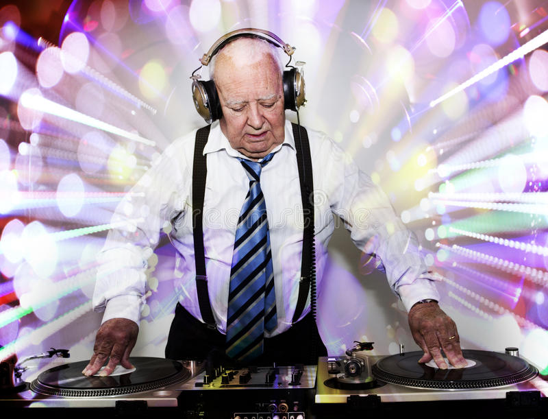 Grandpa dj stock photography