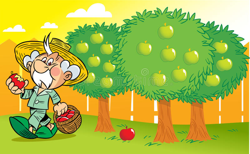 Download Grandpa in the garden stock vector. Image of harvest - 25506536