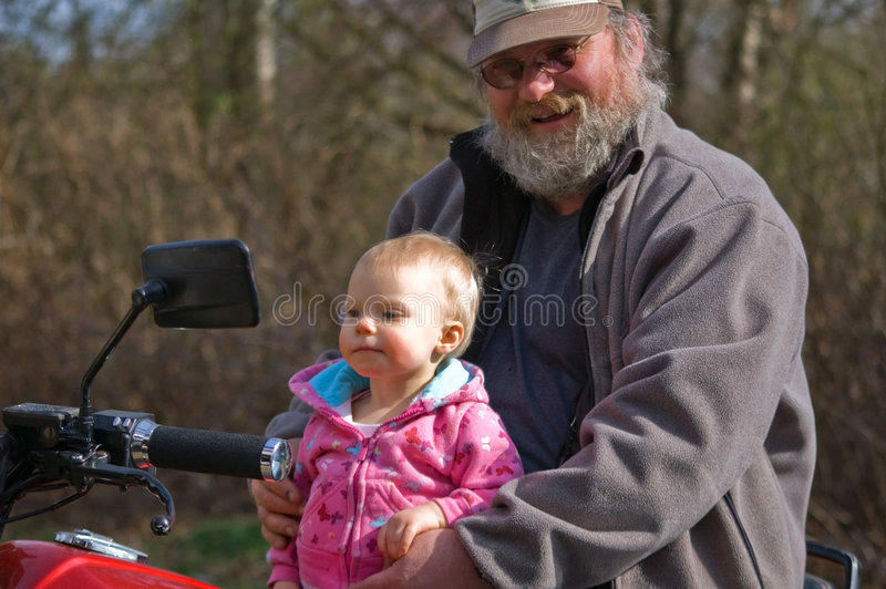 Download Grandpa & Granddaughter On Motocycle Stock Image - Image: 8855735
