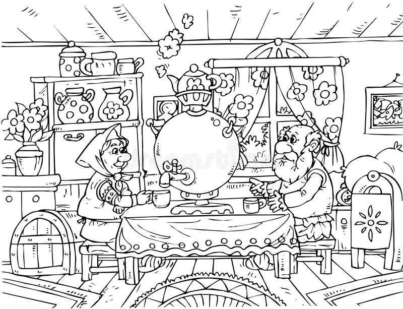 Grandpa and Grandma. Black-and-white illustration (coloring page): Grandpa and Grandma drink tea in their kitchen (nursery tale characters vector illustration
