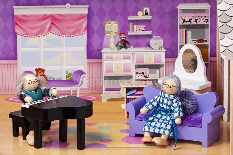 Grandpa Grandma Doll Dolls House Living Room Stock Photo - Image of ...