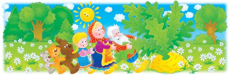 Grandpa, grandma, granddaughter and big turnip royalty free illustration