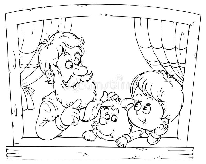 Grandpa and grandson vector illustration