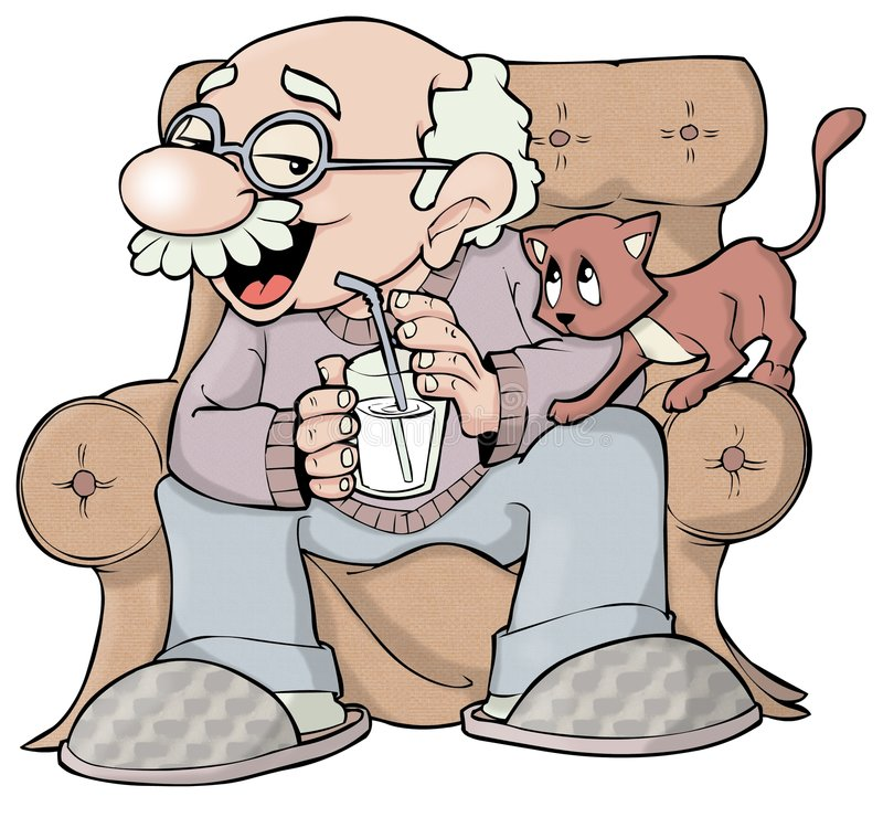 Grandpa and kitty royalty free illustration