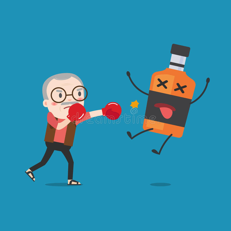 Grandpa punching liquor bottles to knock out. stock illustration