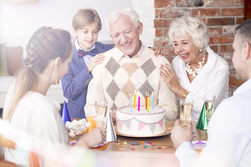 Grandpa`s birthday party royalty free stock images
