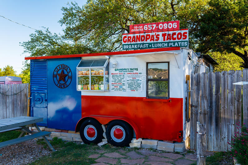 Grandpa's Taco Stand. Spicewood, Texas USA - April 5, 2016: Grandpa's Tacos is a popular breakfast taco stand in suburban Austin royalty free stock photos