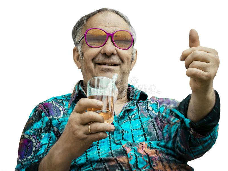 Grandpa shows thumb up on white background stock images
