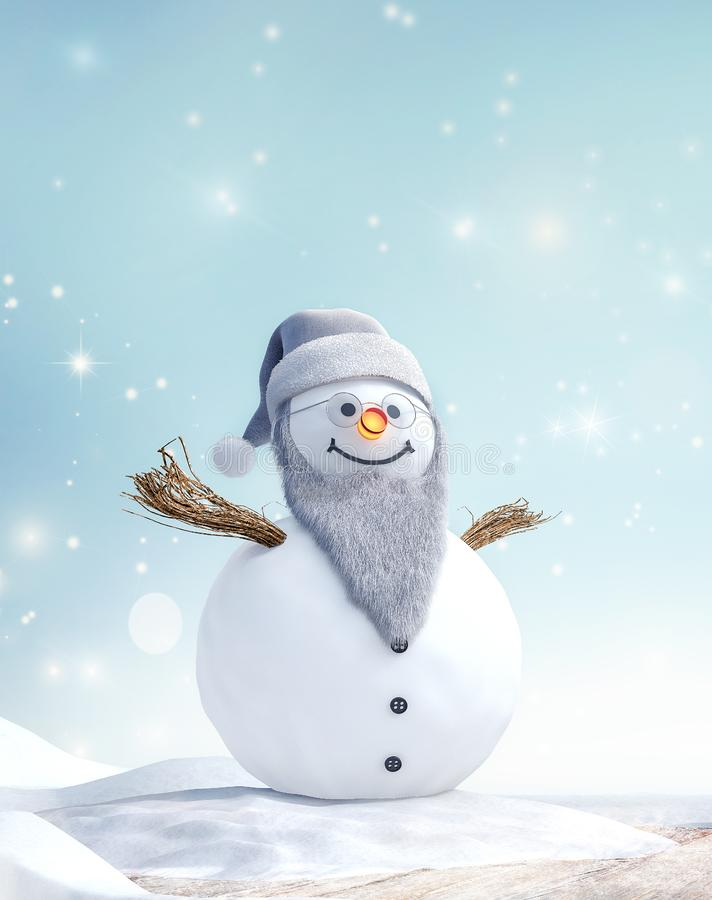 Grandpa Snowman with beard and glasses in winter landscape stock photos