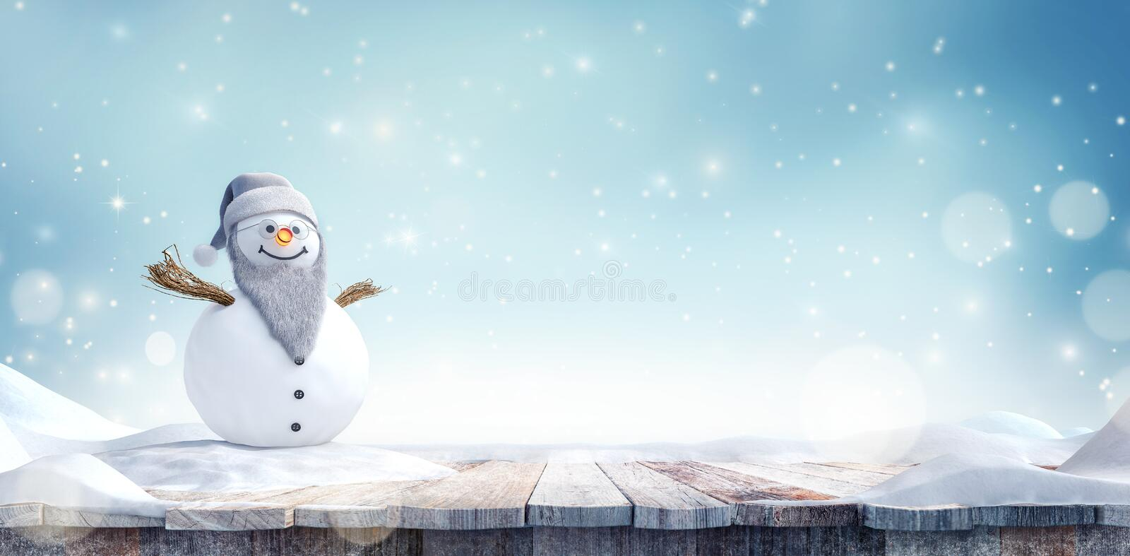 Grandpa Snowman with beard and glasses in winter landscape stock images