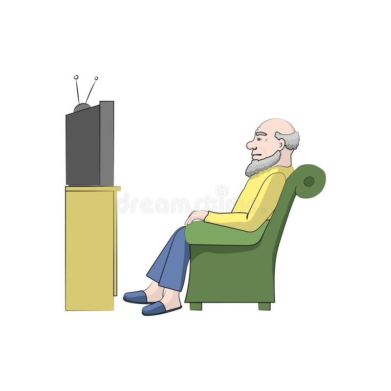 Grandpa watches TV. Vector color. Illustration royalty free illustration