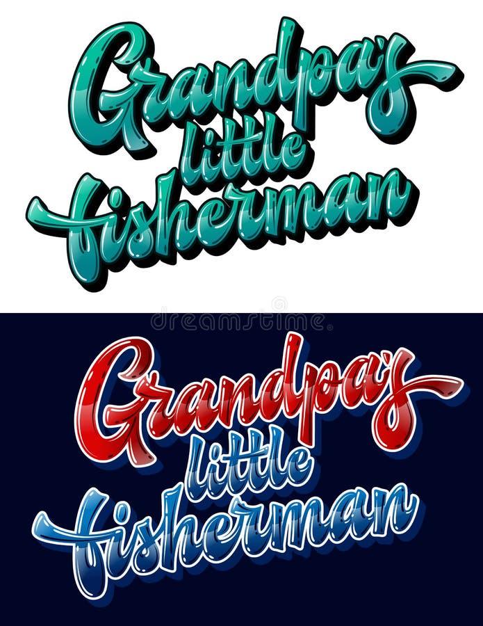 Grandpapper kleiner Fischer - handgezeichneter Satz vektor abbildung