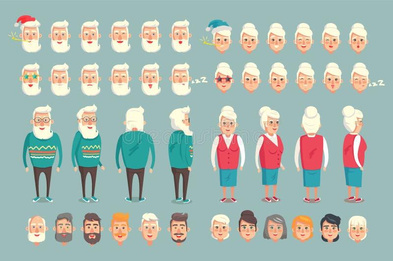 Grandparent Construction Set Vector Illustration vector illustration
