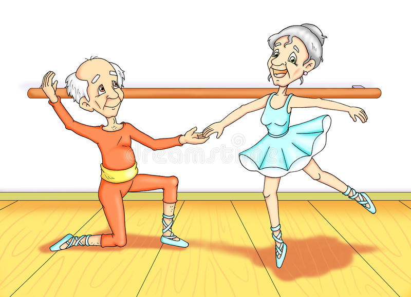 Grandparent to lesson of dance stock illustration